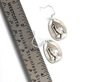 faith earrings, prayer earrings, church earrings, silver earrings