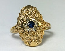 Gold Filigree Shield Style Sapphire and Diamond ring / size 8