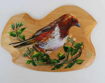 Hand painted Bird oil painting on wooden piece
