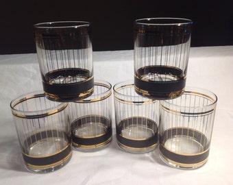 "Culver ""Devon Black"" Barware Set 22 Carat Gold Rock Glasses Set Of Six"