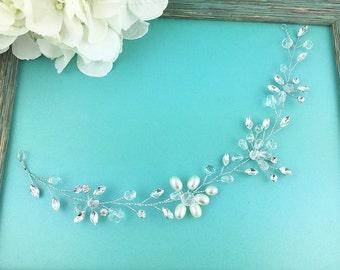 Bridal Hair Vine, Rhinestone Wedding flexible hair vine, Crystal Pearl Vine Comb, bridal accessories, wedding hair accessories, 475530024