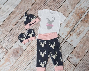 Baby Deer Antlers/Horns Bodysuit, Hat, Scratch Mittens Set with Pink and Navy+ Personalized Name and Deer Bodysuit Newborn Coming Home
