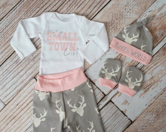 Baby Deer Antlers/Horns Small Town Bodysuit, Pants, Hat, Scratch Mitts Set with Grey and Pink + Newborn Coming Home