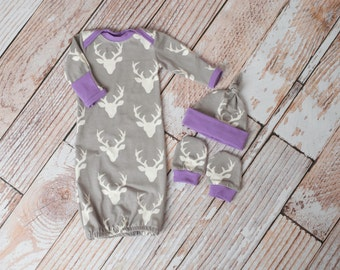Woodland Deer Baby Gown, Mitts, and Hat Baby Shower Gift/ Hunting Baby Gown/ Deer/Buck Baby Gown Purple