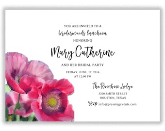 Floral Bridesmaids Luncheon Invitation