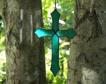 Turquoise Stained Glass Cross, Cross Suncatcher, Cross ornament,  Turquoise Cross Ornament