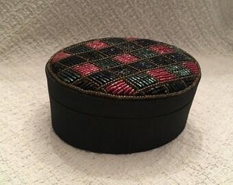 Beaded Black Fabric Oval Box, Beaded Trinket Box, Black Silky Fabric,  Beaded Cover, Diamond Pattern, Beaded Jewel Box