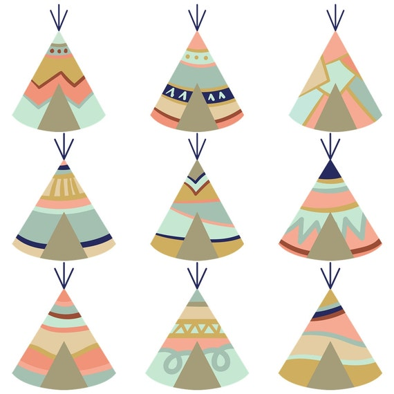 Boho Clipart Set Tipi Tents Feathers Arrows Amp Skulls