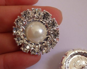 2 large crystal buttons pearl rhinestone diamante upholstery wedding silver