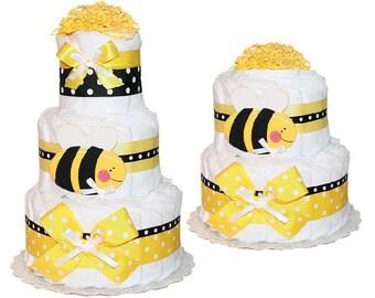 Bumblebee Diaper Cake, Bumblebee centerpiece for Baby Shower / Busy Bee Diaper Cake / Bumble Bee Baby Shower/ Baby Shower Centerpiece