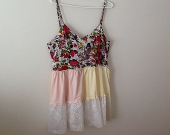 Upcycled Clothing Refashioned Shabby Style Country Rustic Hippie Boho Romantic Repurposed Babydoll Tank Top Tunic. Women's Size Large.