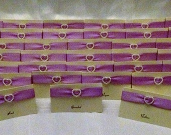 10 x Personalised Handmade Pearl Heart Placecards