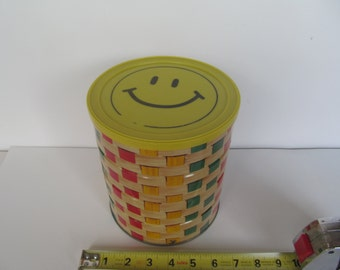 Vintage Tin Can - Happy Face Coffee Can  -