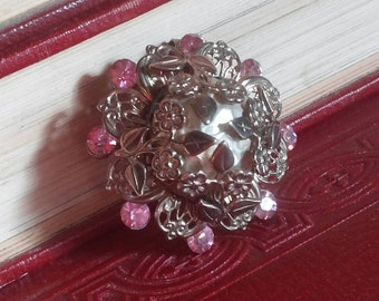 Vintage Pendant w/ Ornate Flowers, Pearl Center, & Pink Rhinestones