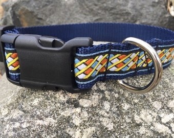 Blue Colorful Geometric Pattern Dog Collar