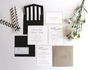 Modern Black & White Wedding Invitation Set