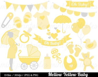 Baby Shower Clipart, Yellow Baby Clipart, Baby Clip Art, Boy Girl Gender Neutral, bunting - Commercial & personal - BUY 2 GET 1 FREE!