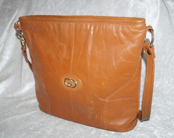 70s Shopper Bag Genuine Leather Cognac