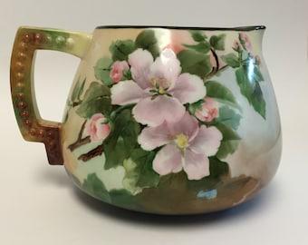 American Belleek Cider Pitcher, Ceramic Art Company Hand-Painted Lemonade Pitcher, Trenton NJ Porcelain, Apple and Apple Blossom Art Pitcher