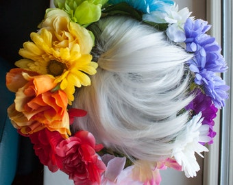 PRIDE Rainbow Flower Crown (fits most adult sized heads)
