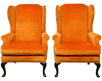 Pair of Queen Anne Style Orange Crush Velvet Wing Chairs