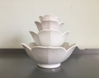 Four Nesting White Lotus Bowls, Made in Japan