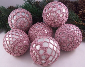 Silver & Pink baubles, Christmas decorations, Wedding Favours, Christmas baubles, Crochet baubles, Christmas ornaments, Holiday decorations