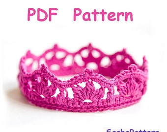 Crochet princess crown pattern -  baby crochet flower stitch crown