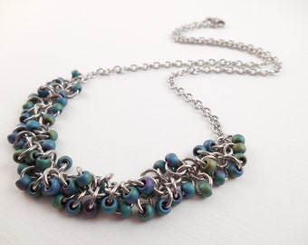 Gasoline Shaggy Necklace - Gasoline Beaded Stainless Steel Shaggy Loops Chain Maille Necklace