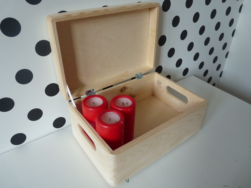 Wooden Unfinished Treasure Chest Box Wood Container Storage
