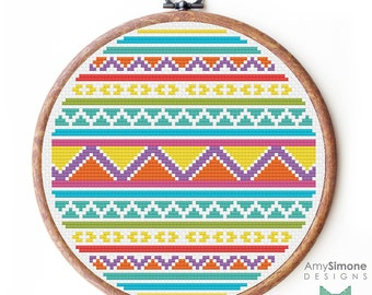 Aztec Geometric shapes patterned Cross Stitch Pattern