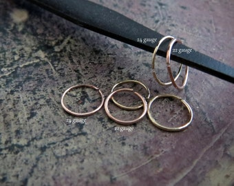 Tiny Gold Nose Ring, 14k Solid Rose Gold or Yellow Gold - 22 or 24 Gauge Super Skinny Endless Hoop in 6, 7, or 8mm - 100% Made in the USA