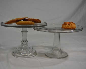 Pair of Clear Glass Cake or Dessert Stands * Display Stands * Pedestal Cake Stand * Cake Serving Pedestal * Holiday Table Setting * Snack