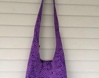 Bats, purple, hobo, slouch, sling bag, cotton, canvas