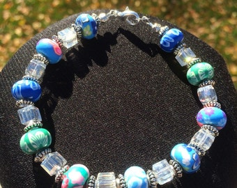 Polymer Clay and Glass Beaded Bracelet