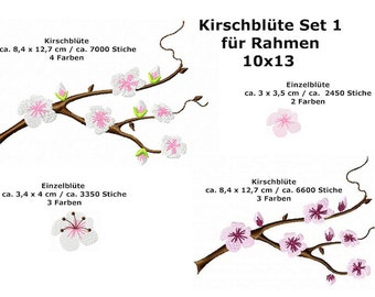 Cherry Blossom embroidery file set 1-4 files suitable for frame 10 x 13