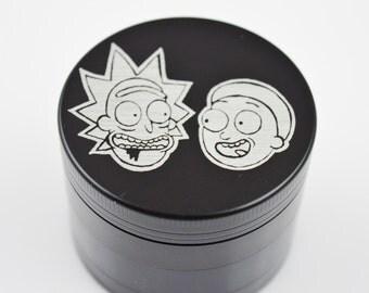 "Rick And Morty 2.2"" Laser Etched 4 Piece Metal Herb Grinder"
