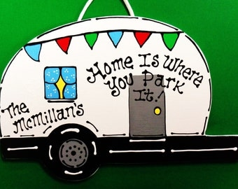 Personalized Camper Name Sign Camping Plaque Home Is Where You Park It Campsite Outdoor Decor
