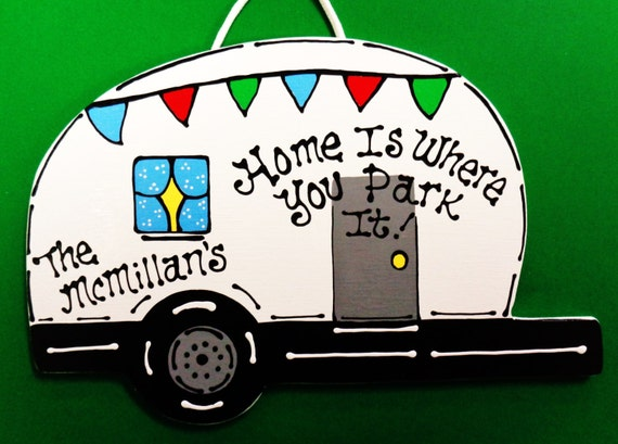 Personalized Camper Name Sign Camping Plaque Home Is Where You