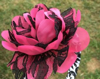 Flower Headband- Hot Pink Black