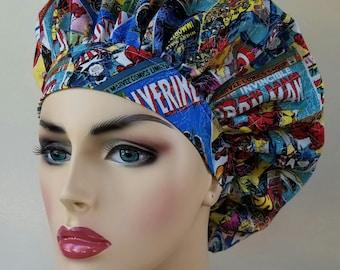 Bouffant surgical scrub hat, scrub cap for women, bouffant scrub hat, surgical cap, Marvel print scrub hat, super hero surgical scrub hat