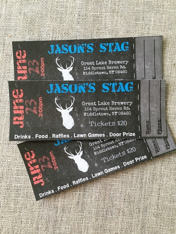 Stag buck bachelor event tickets diy digital printed for Stag tickets template free