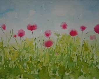 watercolour poppy field