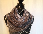 Reversible Vinyasa Infinity Snap Scarf in Charcoal and White Dots& Stripes