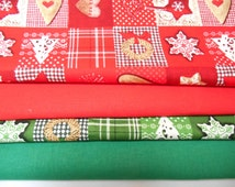 Christmas Fat Quarter Bundles, Rose and Hubble, Klona Cotton, Traditional colours, Mixed Bundles, Xmas Decorations, Festive Quiliting