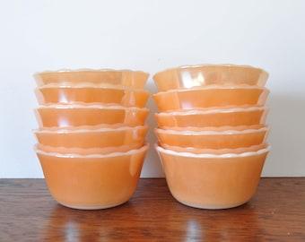 Fire King Copper Tint Custard Cups, Peach Luster Bowls, Set of Ten