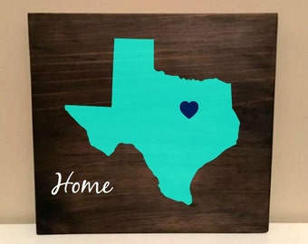 State wood sign. You pick state. Texas home decor. Texas wood state. Home town state.