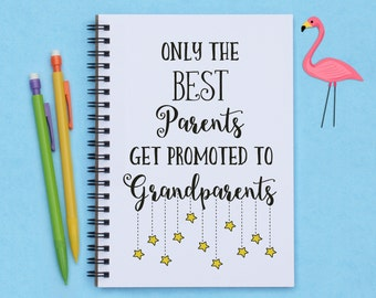 "grandparents gift, Only the Best Parents Get Promoted to Grandparents, 5""x7"" Journal, notebook, diary, memory book, scrapbook, grandparents"