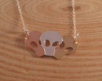 Sterling Silver, Copper and Brass Triple Skull Necklace