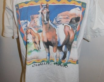 Vintage CHALLIS IDAHO Horse Horses Equestiran Wildlife Souvenir Shirt Size Adult XL